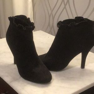 Adorable Suede Booties with Ruffled Top